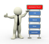 3d businessman and insurance policy — Stock Photo
