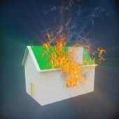 3d house on fire — Stock Photo