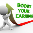 3d man boost you earning — Foto Stock