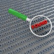 Stock Photo: 3d magnifier searching binary data