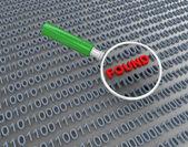 3d lupe suchen binärdaten — Stockfoto
