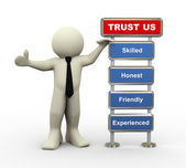 3d businessman trust us — Foto Stock