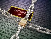 3d locked protected data — Stock Photo