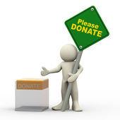 3d man and donation box — Stock Photo