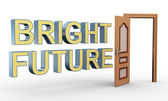 3d open door and bright future — Foto Stock