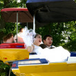 The groom and the bride go for a drive on a swing — Stock Photo