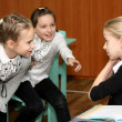 Three girls talk at school at lesson — Stock Photo #18128363