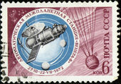 The Soviet stamp about the spaceship image — Stock Photo