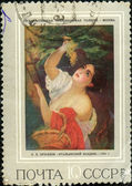 Stamp with the image of a picture of Bryullov the Italian midday — Stock Photo
