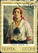Stamp with the image of a picture of Ryazhsky Delegatka, 1927 — Stock Photo