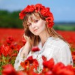 Stock Photo: Beautiful girl in a poppy field