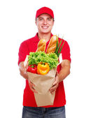 Food delivery courier — Stock Photo