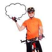 Ciclista con el discurso burbuja en blanco — Foto de Stock
