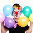 Happy clown with balloons — Stock Photo