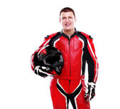 Motorcyclist in red — Stock Photo