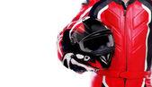 Motocycliste en rouge — Photo