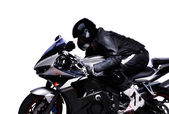 Biker riding his motorcycle on white background — Stock Photo