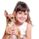 ragazza con il suo piccolo cane — Foto Stock