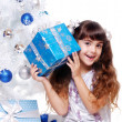 Happy girl on Christmas — Stock Photo