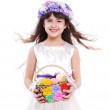 Girl holding the basket — Stock Photo