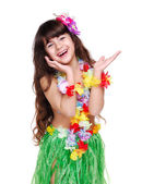 Girl in hawaiian dress — Stock Photo