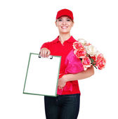 Delivery girl — Stock Photo