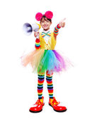 Little girl in clown outfit — Stock Photo
