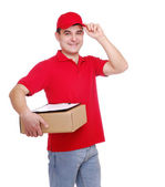 Courier in red uniform — Stock Photo