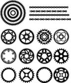 Chain and gears of bicycle — Stock Vector