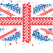 Stock Photo: British flag made of bicycle protector's track