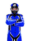 Biker in blue uniform on white background — Stock Photo