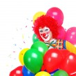 Happy clown with air balloons — Stock Photo