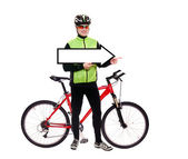 Cyclist hodling pointer blank — Stock Photo
