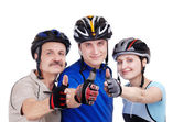 Cyclists family — Stock Photo