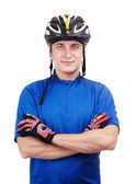 Cyclist with crossed hands — Stock Photo