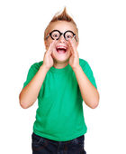 Boy in green shirt screaming out shout — Stock Photo