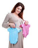Pregnant woman shopping for boy and girl — Stock Photo