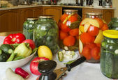 Home canning. Vegetables in glass jars. — Stock Photo