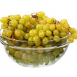 Seedless grapes in glass dish — Stock Photo