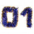 Royalty-Free Stock Photo: Blue gold tinsel forming 2013 year number