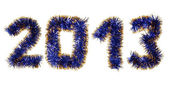 Blue gold tinsel forming 2013 year number — Stock Photo
