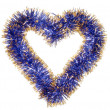 Blue gold tinsel heart — 图库照片