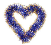 Blue gold tinsel heart — Stock Photo