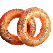 Two poppyseed bagels — Stock Photo