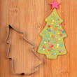 Stock Photo: Christmas tree and metal cutter