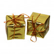 Stock Photo: Two golden gift boxes