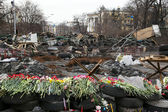 Evromaydan in Kiev. Barricades — Stock Photo