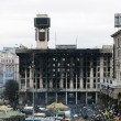 Evromaydin Kiev. Burned House of Trade Unions. — Stock Photo #41714969