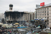 Evromaydan in Kiev. Burned House of Trade Unions. — Stock Photo