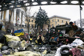 Evromaydan in Kiev. Barricades in the street Institutskaja. — Stock Photo